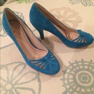 Anthropologie blue suede heels. Leather soles.